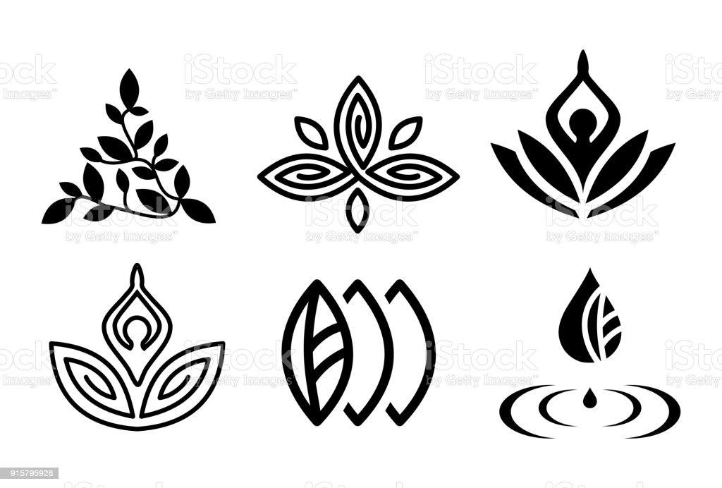 Set of beautiful yoga and spa symbols and logotypes vector set of beautiful yoga and spa symbols and logotypes vector - immagini vettoriali stock e altre immagini di accudire royalty-free