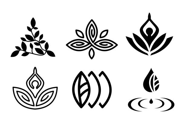 set of beautiful yoga and spa symbols and logotypes vector - wellness stock illustrations