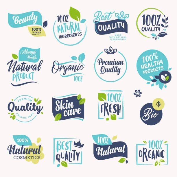 set of beauty and cosmetics, spa and wellness labels and badges - fruit icon stock illustrations, clip art, cartoons, & icons