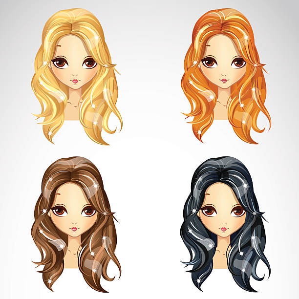 stockillustraties, clipart, cartoons en iconen met set of beauty babetta hair - blond curly hair