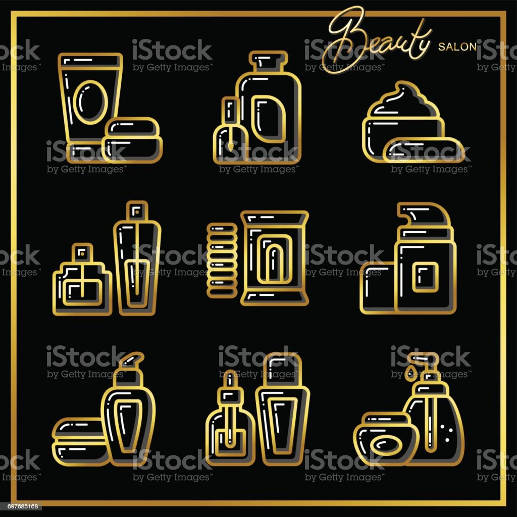 Set of beauty cosmetics icons drawn in gold lines on a black background_2 vector art illustration