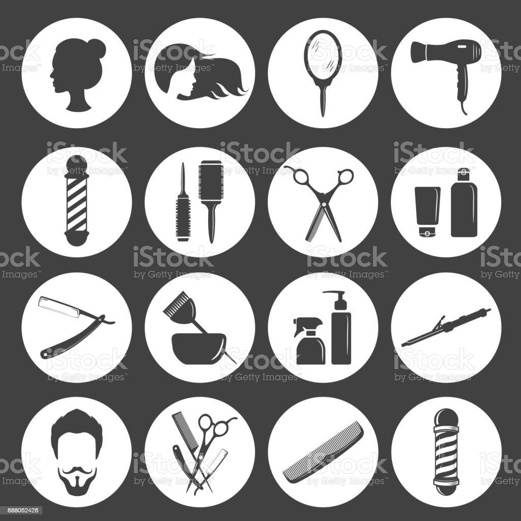 Conjunto de salão de beleza cabelo ou acessórios barbearia - ilustração de arte em vetor