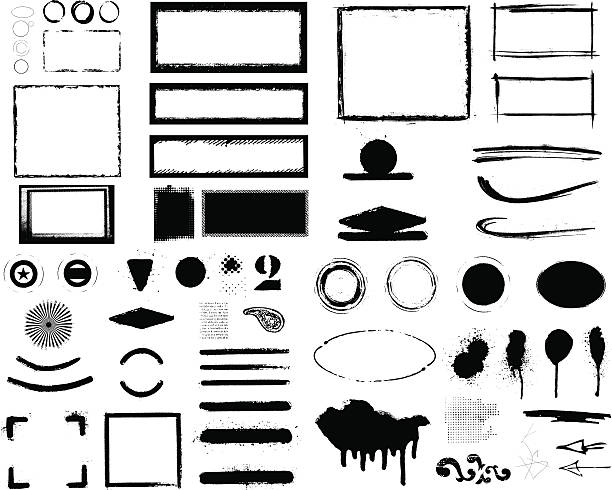 set of beauty inky grunge and stencil style figures built your shield with this set of stencil and grunge black inky figures, with frames, circles and banners with copy space aerosol can stock illustrations