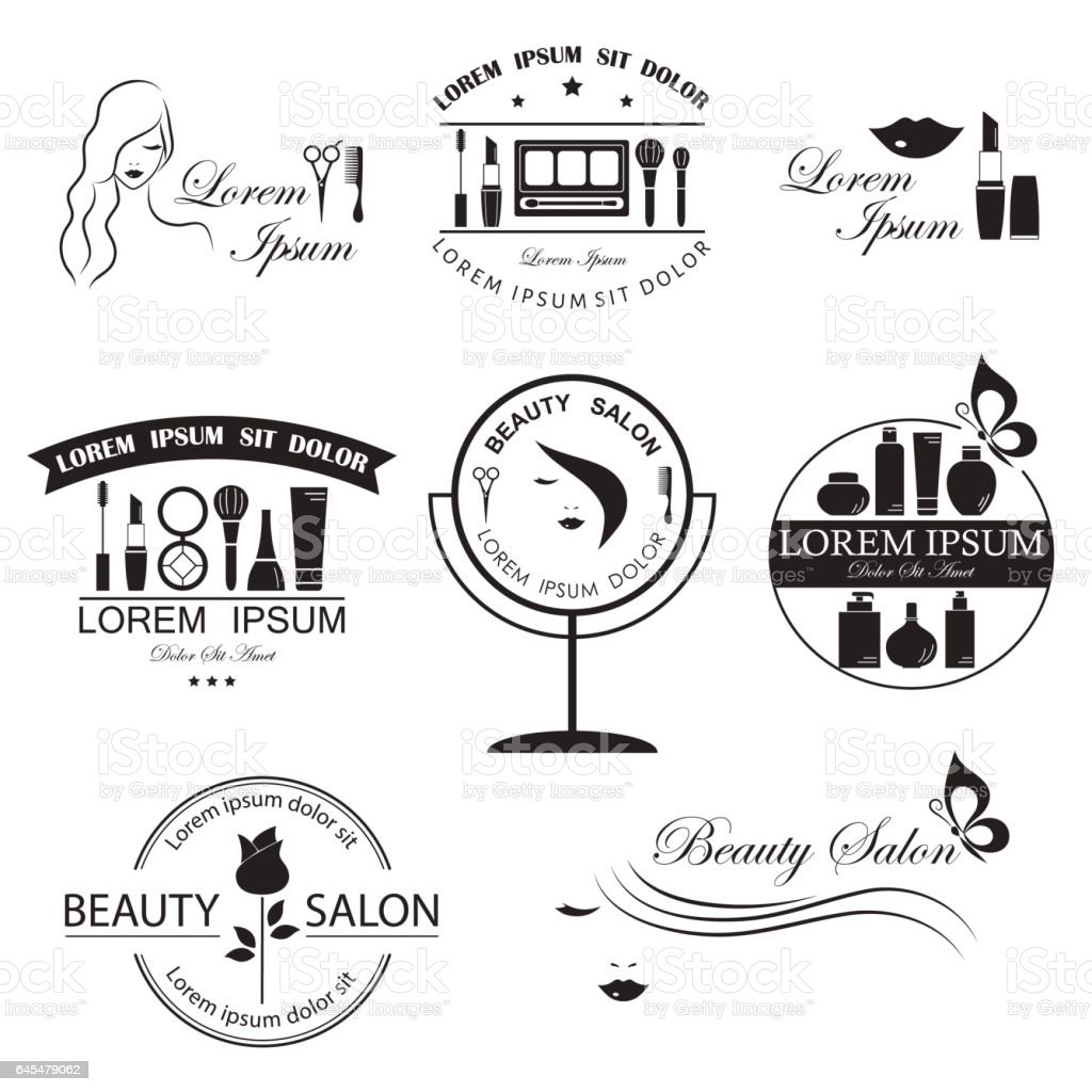 Set of beauty logo templates, labels, badges, design elements for beauty salon, beauty center, cosmetics, spa and wellness vector art illustration