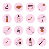 Hand drawn set of beauty makeup insta story highlight elements, mascara, cream bottle, nail product, brush. Doodle sketch style. Illustration for cosmetic icon, makeup highlights design.