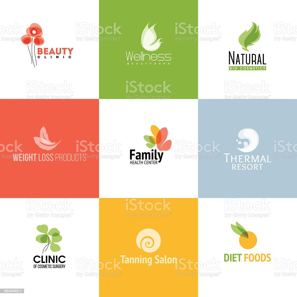 Set of beauty & nature logo templates and icons vector art illustration