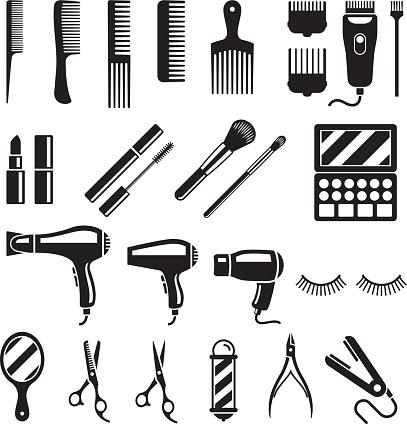Set of beauty salon tools. Vector illustrations.