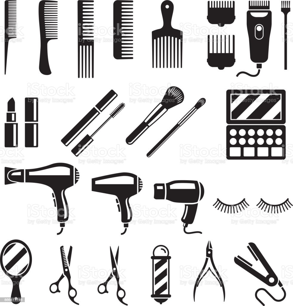 Conjunto de ferramentas de salão de beleza. Ilustrações vetoriais. - ilustração de arte em vetor