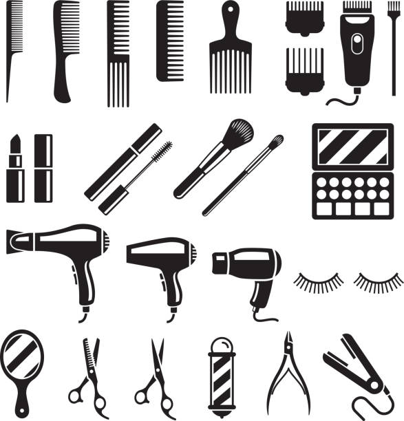 set of beauty salon tools. vector illustrations. - hairdresser stock illustrations