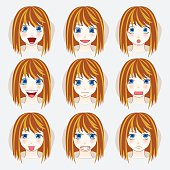 Set of beauty woman avatar expressions face emotions vector illustration.
