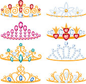 Set of beautyful golden tiaras with gemstones. Cartoon style. Jewelry collection.