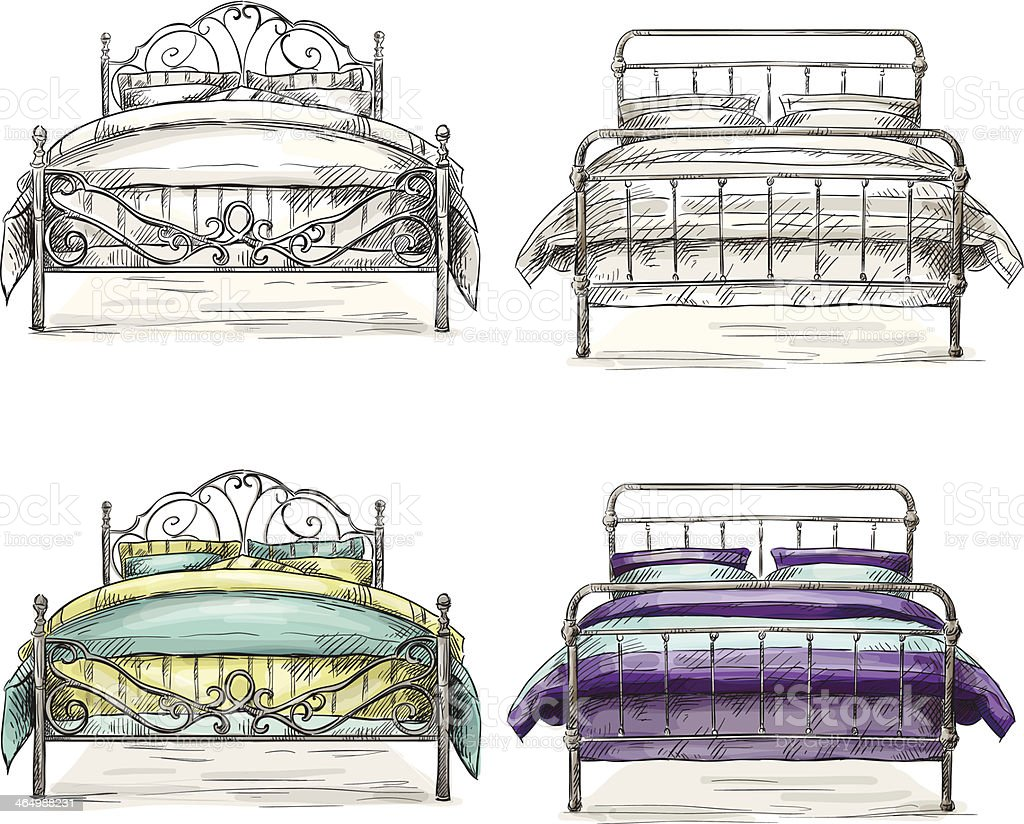 set of beds drawing sketch style vector art illustration