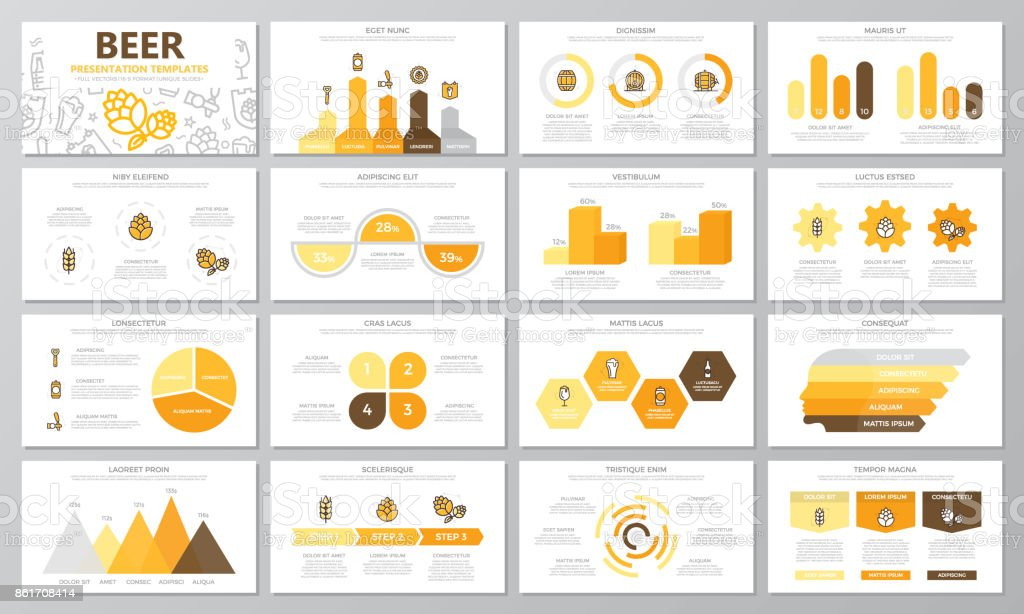 Set of beer and bar, pub elements for multipurpose presentation template slides with graphs and charts. Leaflet, corporate report, marketing, advertising, annual report, book cover design. vector art illustration