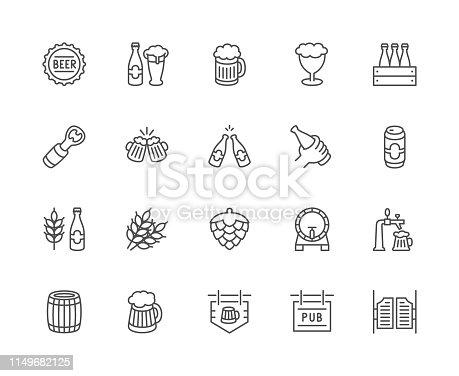 Set of beer and pub line icons. Bottle cap, mug, opener, wheat grain, hop cone, keg, barrel, saloon door, signboard and more.