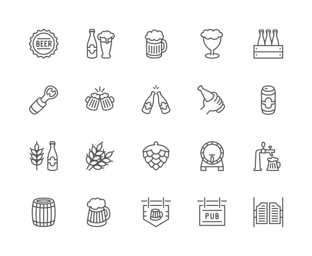 Set of beer and pub line icons. Bottle cap, mug, opener, wheat grain, hop cone and more. Set of beer and pub line icons. Bottle cap, mug, opener, wheat grain, hop cone, keg, barrel, saloon door, signboard and more. beer stock illustrations