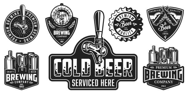 Set of beer badges Set of badges with beer equipment in monochrome style. Vector illustration. beer stock illustrations