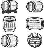 Set of beer barrels isolated on white background. Design elements for logo, label, emblem, sign, brand mark.