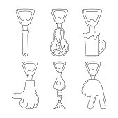 Set of beer bottle opener icons with hand emoji, steak, mug with foam, fish. Vector isolated.