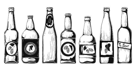 Download Set Of Beer Bottles Vector Illustration Sketch Stock ...