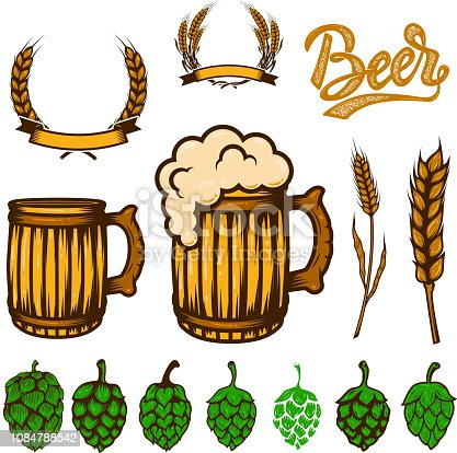 Set of beer design elements. Wheat spikelets, beer hop,mugs. For logo, label, emblem, sign, poster, banner, flyer. Vector image