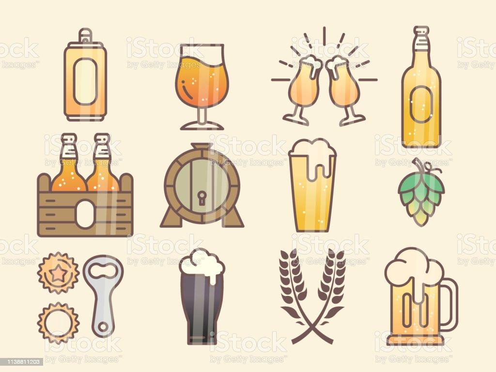 Set Of Beer Glass Mug Barrel Bottle And Hop Stock