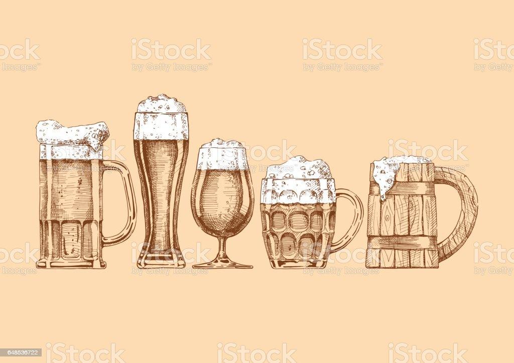 Satz von Biergläser und Tassen – Vektorgrafik