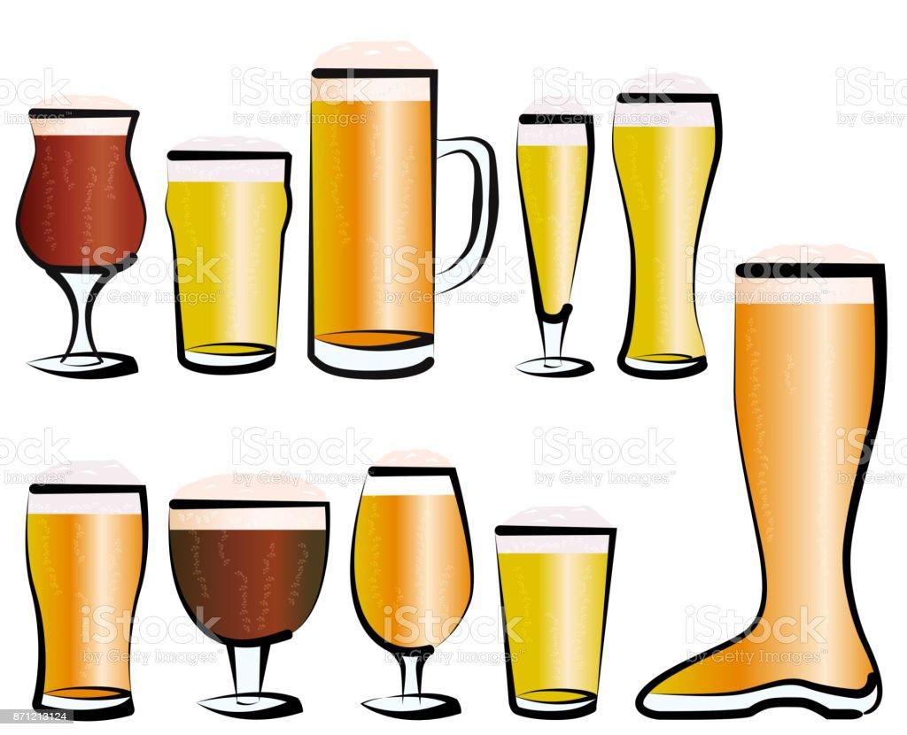 Set of Beer Glasses vector art illustration