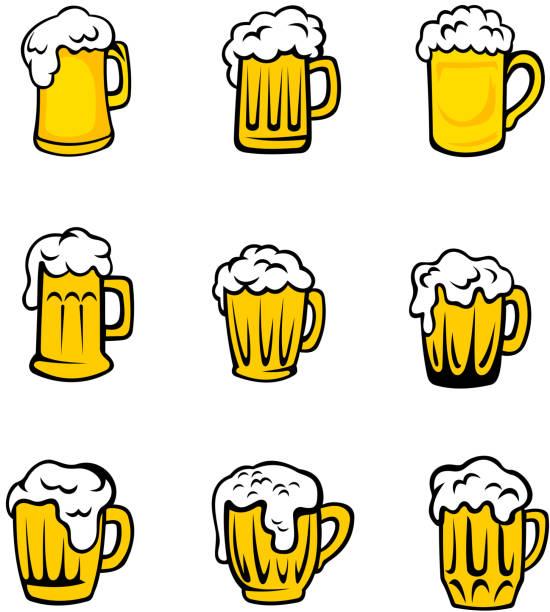 Set of beer glasses with fresh foam vector art illustration