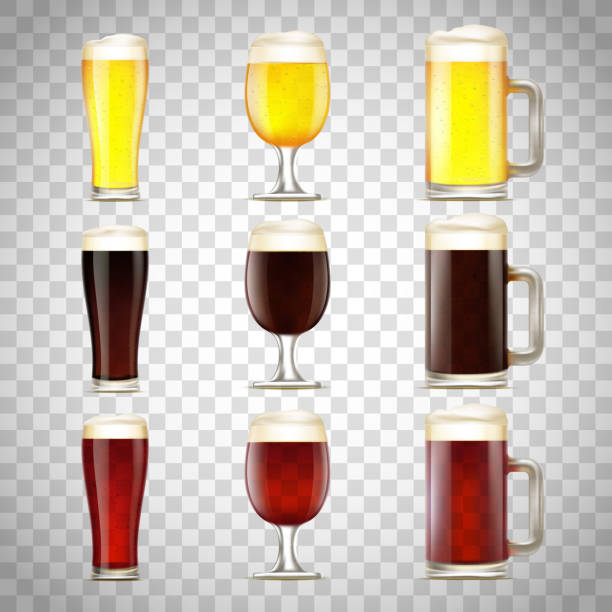 Set of beer in a glass Set of beer in a glass and a mug. Isolated on a transparent background. ale stock illustrations