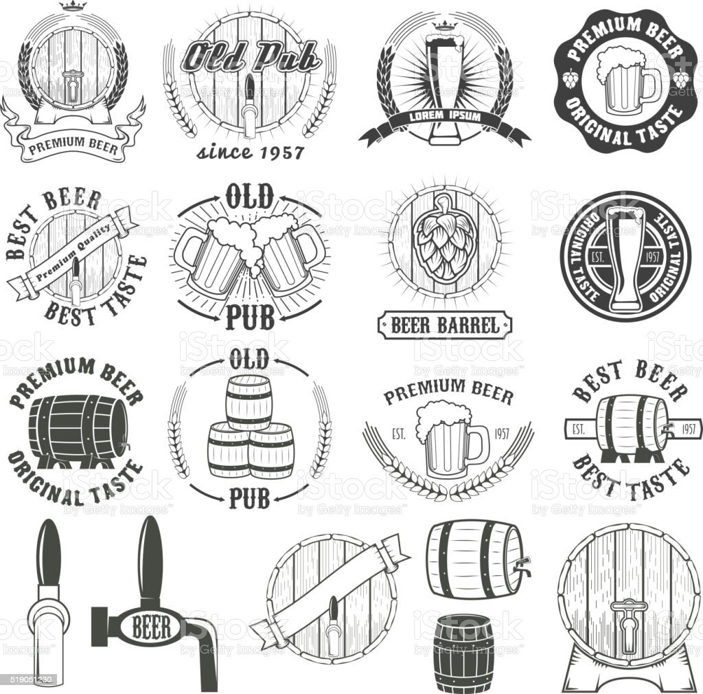 Set of beer labels, badges and design elements. vector art illustration