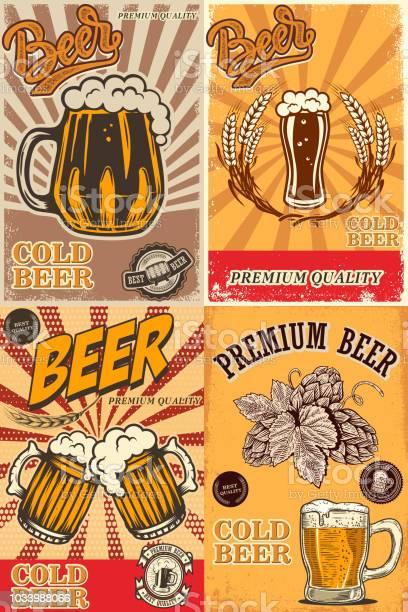 Set of beer pub posters design element for poster card emblem sign vector id1033988066?b=1&k=6&m=1033988066&s=612x612&h=erpioucu8xhcq1qcfhfb1y88 m59qlcwgwvxzughtmu=
