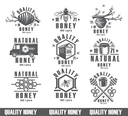 set of bees background, vintage vector icons, nectar, packing product. Figure bees, the design of a natural product.