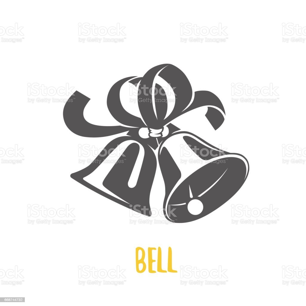 Set of bells  illustration. Logotypes and badges. Vector logotype isolated on dark background.