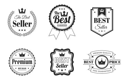"""Set of """"Best"""" Badges and Labels (outline, line art) - Design Elements"""