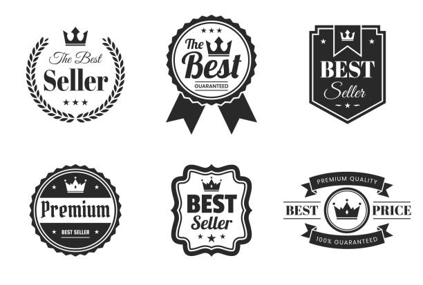"set of ""best"" black badges and labels - design elements - przypinka stock illustrations"