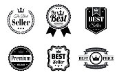 """Set of 6 """"Best"""" Black badges and labels, isolated on white background (The Best Seller, The Best - Guaranteed, Premium - Best Seller, Premium Quality - Best Price - 100% Guaranteed). Elements for your design, with space for your text. Vector Illustration (EPS10, well layered and grouped). Easy to edit, manipulate, resize or colorize."""