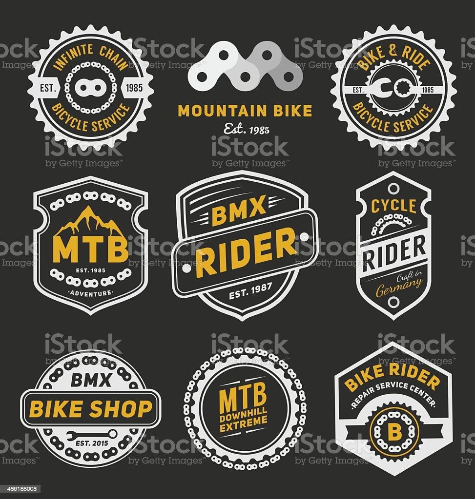 Set of bicycle badge logo template desig vector art illustration