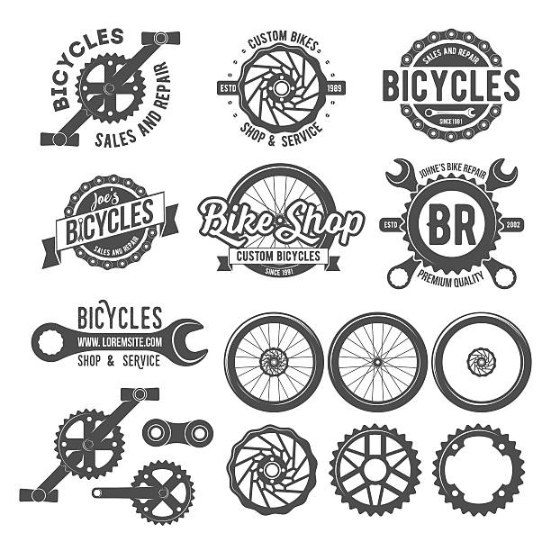 set of bicycle badges - bike stock illustrations, clip art, cartoons, & icons