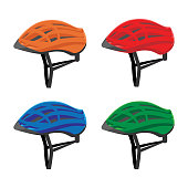 Set of bicycle helmets vector illustration isolated on white background. Colorful head protective gear in realistic design