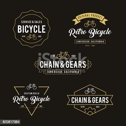 Set of bicycle in Retro Styled design label and badge