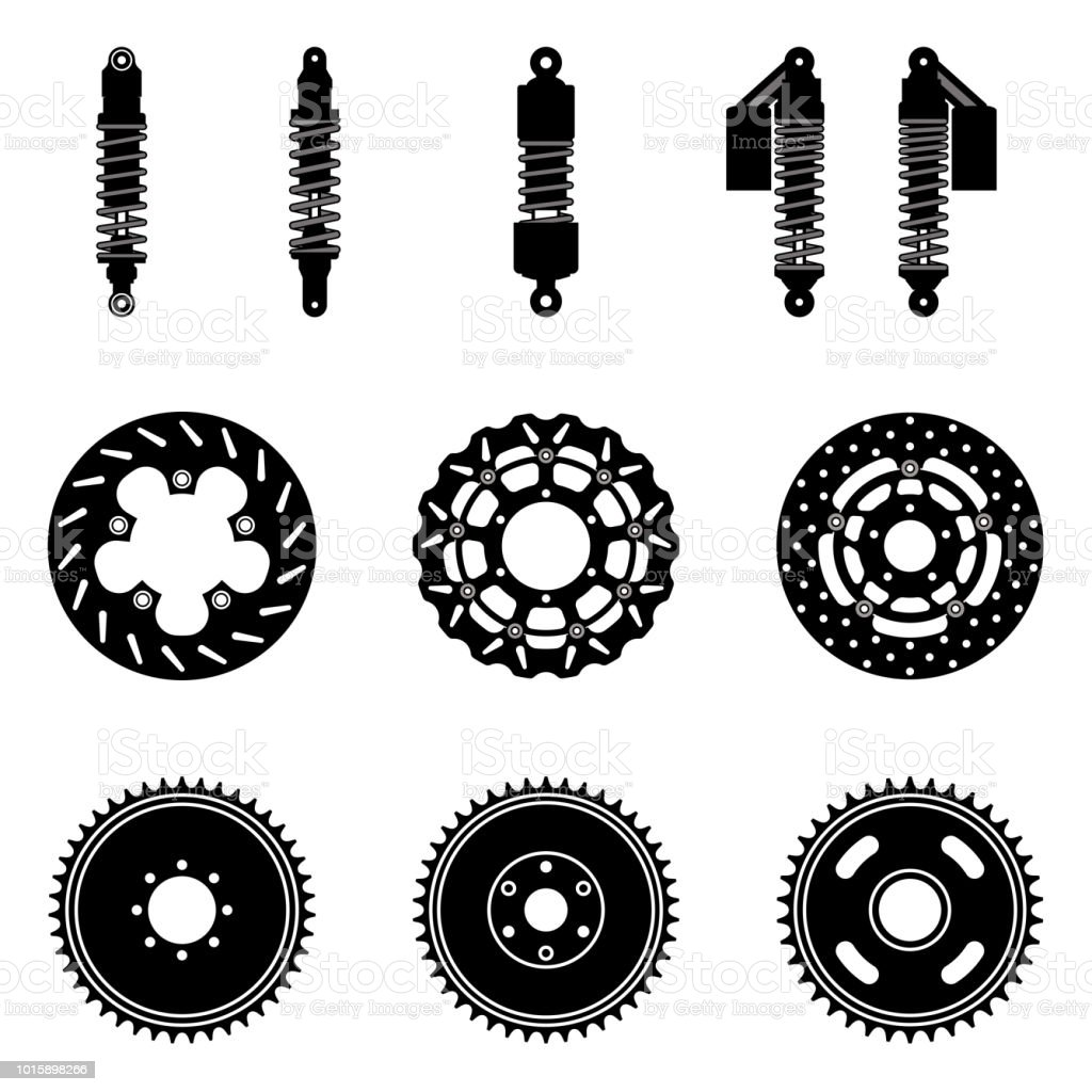 Set of bicycle part icon. Suspension shocks, brake disc and sprocket wheel. Silhouette vector vector art illustration