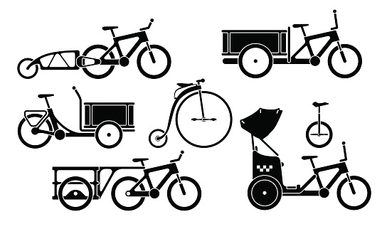 Set of bicycles and tricycles silhouette icons