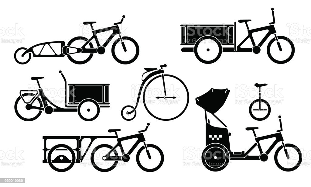 Set of bicycles and tricycles silhouette icons vector art illustration