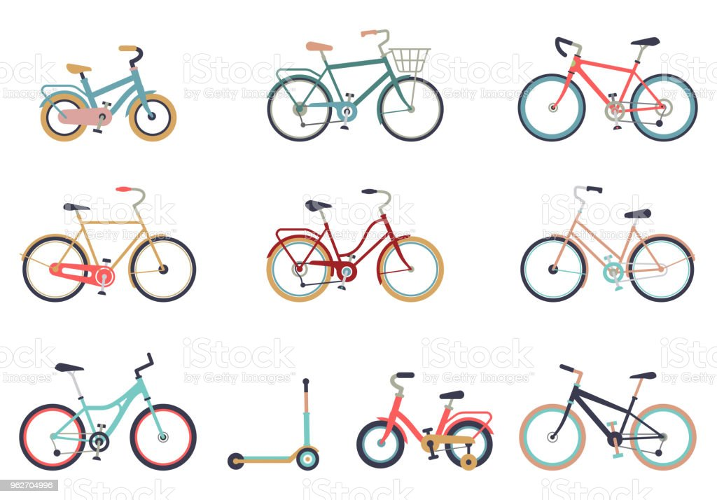 Set of bicycles in a flat style isolated on white background. Bike for man, woman, boy, girl. Bike icon vector. - Royalty-free Atividade arte vetorial