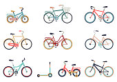Set of bicycles in a flat style isolated on white background. Bike for man, woman, boy, girl. Bike icon vector. Different bicycles with a basket, travel and touring bicycle, white tires, carbon wheels