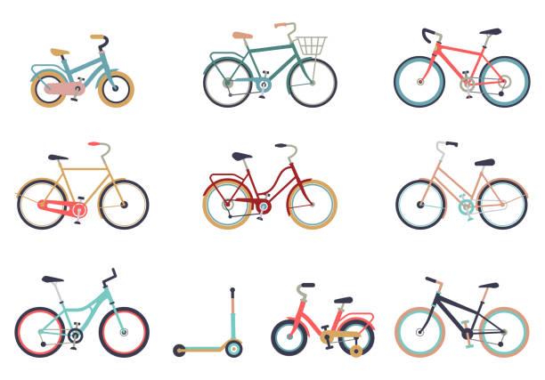 illustrazioni stock, clip art, cartoni animati e icone di tendenza di set di biciclette in stile piatto isolato su sfondo bianco. bici per uomo, donna, ragazzo, ragazza. vettore icona bici. - ciclismo