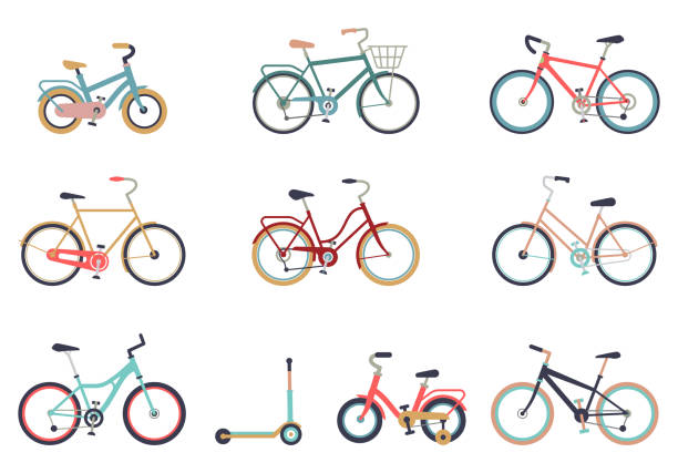 set of bicycles in a flat style isolated on white background. bike for man, woman, boy, girl. bike icon vector. - bike stock illustrations, clip art, cartoons, & icons