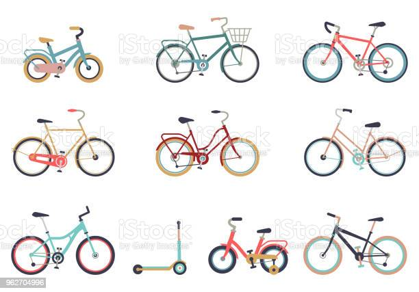 Set Of Bicycles In A Flat Style Isolated On White Background Bike For Man Woman Boy Girl Bike Icon Vector - Arte vetorial de stock e mais imagens de Atividade