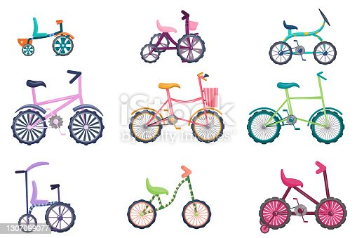 A set of bicycles is isolated on a white background. Bicycles for teenagers and toddlers, two-wheeled, three-wheeled. Vector illustration in cartoon style