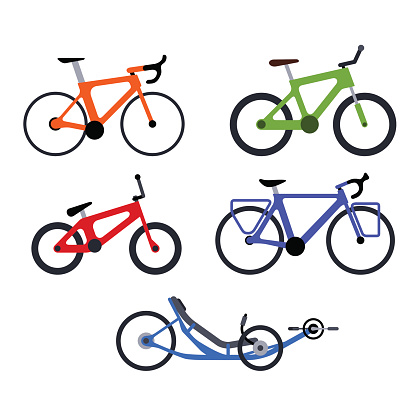 Set of bicycles silhouette icons
